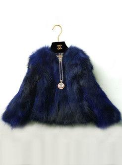 Fashion O-neck Short Faux Fur Coat