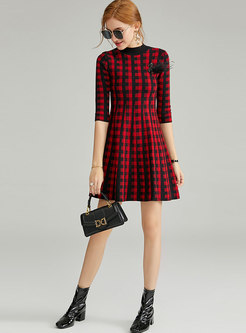 Plaid Waist A Line Knit Dress