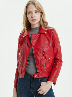 Red Slim Short Biker Jacket