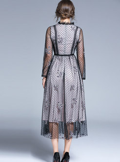 Lace Dot Embroidered High Waisted Maxi Dress