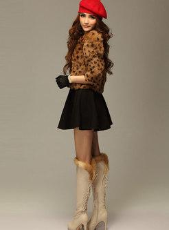 Khaki Leopard Short Faux Fur Coat