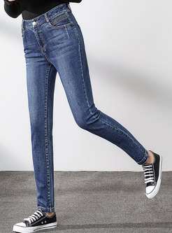 High Waisted Pencil Denim Pants