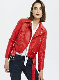 Lapel Slim Side Zipper Biker Jacket With Belt