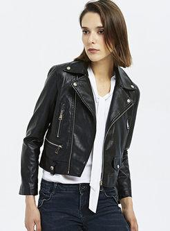 Black Turn Down Collar Biker Jacket
