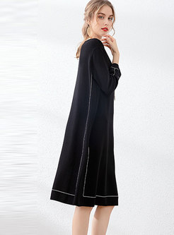 Line Patchwork Loose Shift Dress