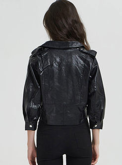 Black Lapel PU Biker Jacket With Belt