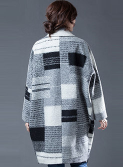 Lapel Color-blocked Plaid Thick Overcoat