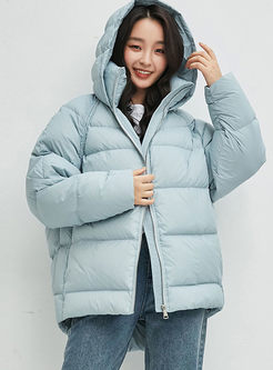 Blue Hooded Thick Goose Bubble Coat