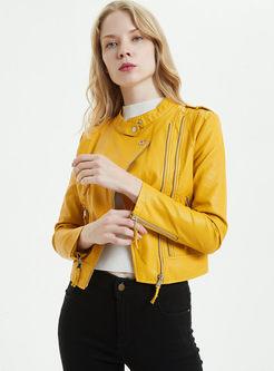 Yellow Stand Collar Slim Biker Jacket