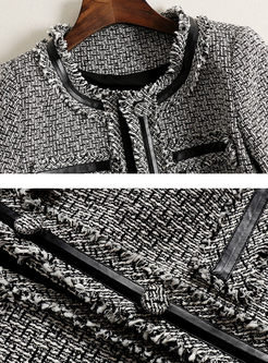 O-neck Tweed Slim Coat & Asymmetric Mesh Skirt