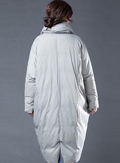 Mock Neck Loose Slit Long Puffer Coat