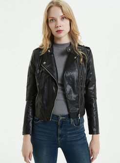 Black Slim Side Zipper Short Biker Jacket