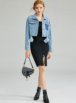 Loose Denim Coat & O-neck Sleeveless Slit Dress