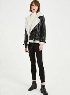Black Turn Down Collar Fleece Biker Jacket
