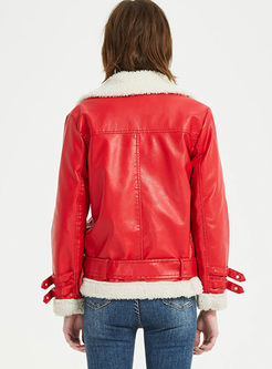 Lapel Fleece Thick Loose Leather Jacket