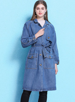 Single-breasted Denim Trench Coat With Belt