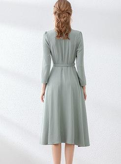 Solid Color Notched Waist Skater Dress