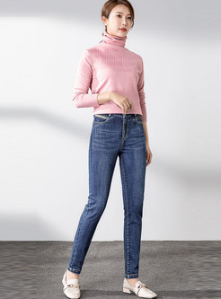 Casual Elastic Denim Pencil Pants