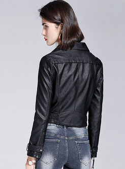 Turn Down Collar Slim Short Biker Jacket