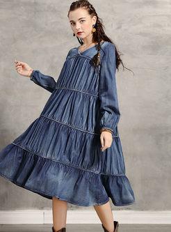 V-neck Long Sleeve Shift Denim Dress