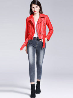 Red Lapel Long Sleeve Side Zipper Biker Jacket