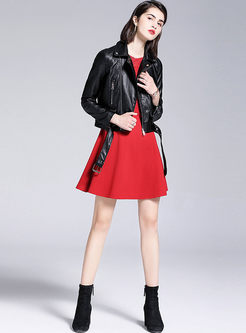 Fashion Lapel Slim Biker Jacket With Belt