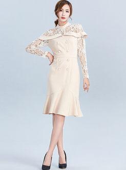 Transparent Lace Long Sleeve Mermaid Dress