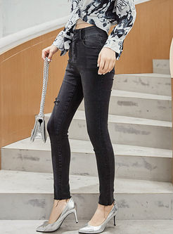 High Waisted Slim Denim Long Pants