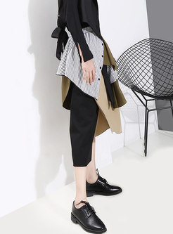 Casual Color-blocked Patchwork Irregular Skirt