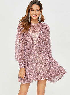 O-neck Lantern Sleeve Floral Chiffon Dress