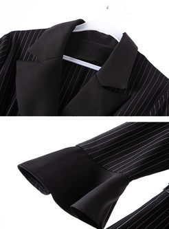 Notched Flare Sleeve Stripe Slim Dress