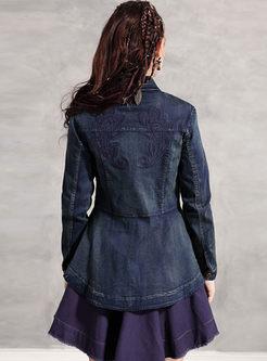 Retro Lapel Embroidered Falbala Denim Coat