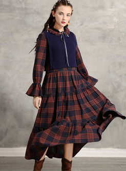 Flare Sleeve Plaid Maxi Dress With Knitted Vest