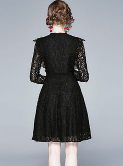 O-neck Falbala Lace Openwork A Line Dress