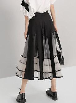 Patchwork Mesh Falbala Skirt