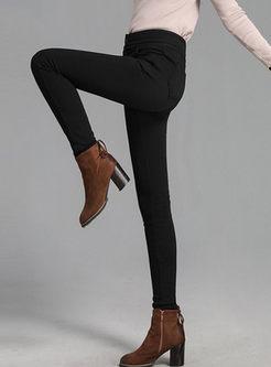 Black High Waist Slim Pencil Pants