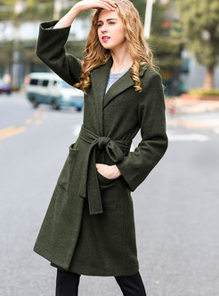 Casual Lapel Hairy Overcoat With Belt