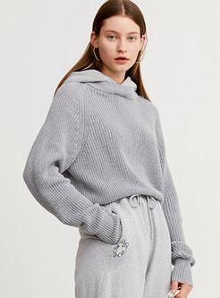 Grey Long Sleeve Knitted Patchwork Loose Hoodie