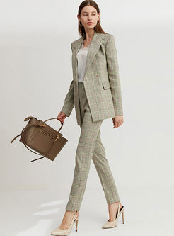 Work Notched Plaid Slim Blazer