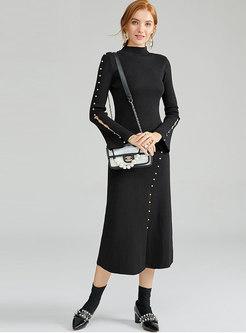 Half Collar Beading Long Sweater Dress