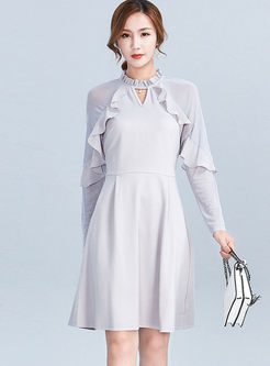 Solid Color Standing Collar Skater Dress
