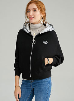Hooded Patchwork Bat Sleeve Sweater Coat