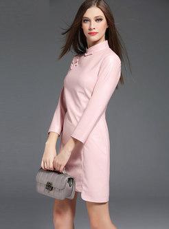 Mandarin Collar PU Bodycon Dress
