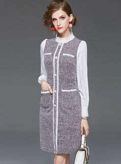 Elegant Standing Collar Tweed Bodycon Dress