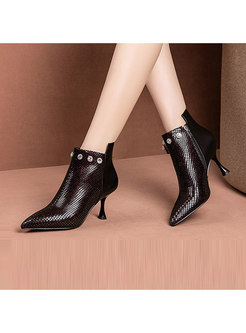 Thin Heel Pointed Head Plaid Leather Short Boots