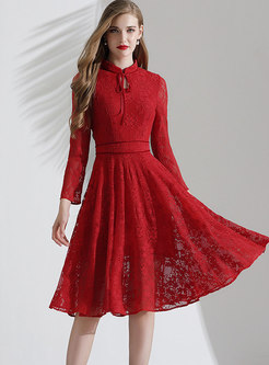 Stand Collar Tie Lace High Waisted Skater Dress