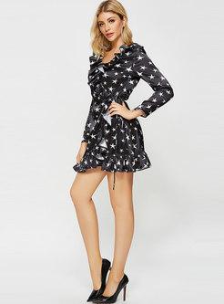 Falbala Star Tie Mini Silk Skater Dress