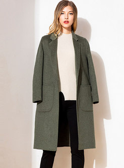 Solid Color Notched Thick Double-faced Overcoat