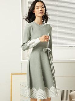 Dot Color-blocked Waist Sweater Dress With Belt