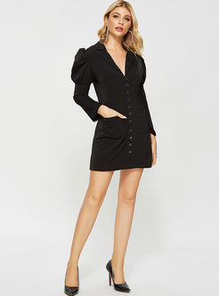 Work Notched Long Sleeve Bodycon Mini Dress